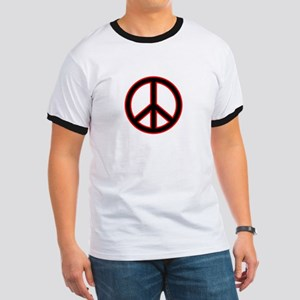 Black & Red Peace Symbol Ringer T